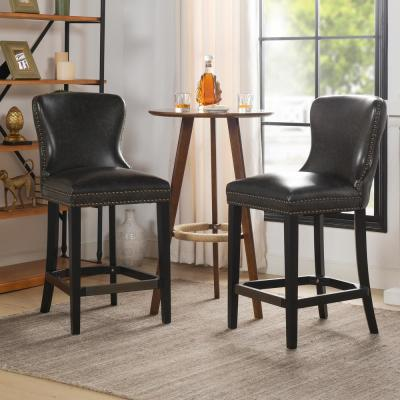 Sonoma 26 Leather Bar Stool (Set of 2), Vintage Black