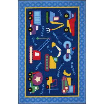 Olive Kids Under Construction Multi Colored 3 ft. x 5 ft. Area Rug