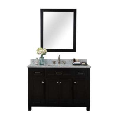 Norwalk 48 in. W x 34.2 in. H x 22 in. D Vanity in Espresso with Marble Vanity Top in White with White Basin