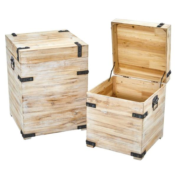 Decorative White Wash Wood Storage Bo And Trunks With Metal Detail Set Of 2