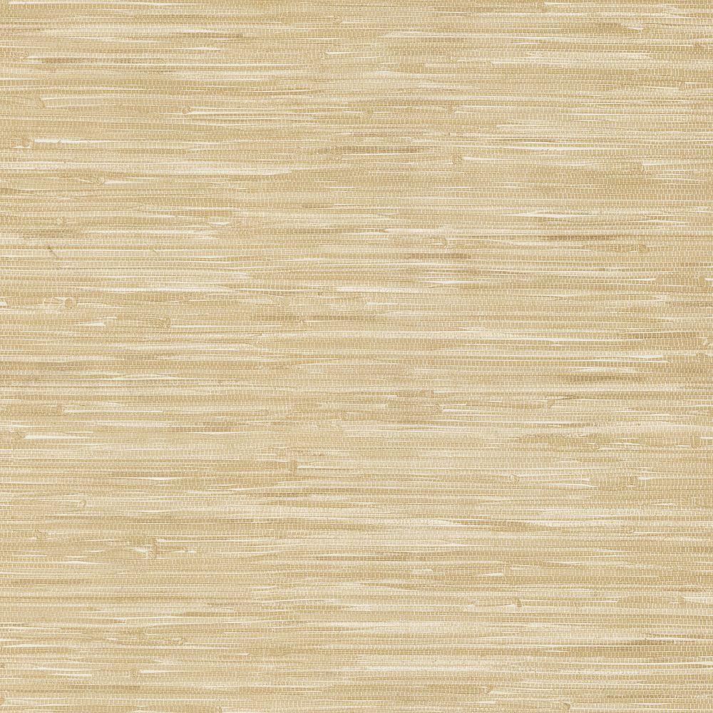 Brewster 56 sq. ft. Lepeka Beige Faux Grasscloth Wallpaper