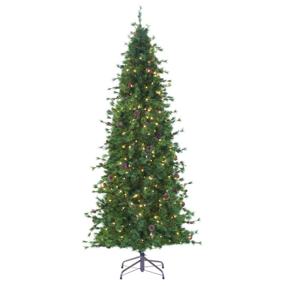 martha stewart living 8 ft indoor pre lit bristle cone pine slim hinged artificial - 8 Ft Christmas Tree