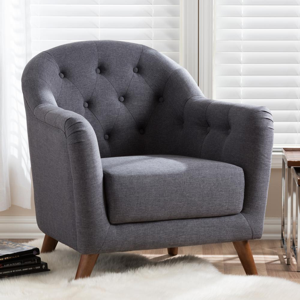 Lotus Dark Gray Fabric Upholstered Accent Chair