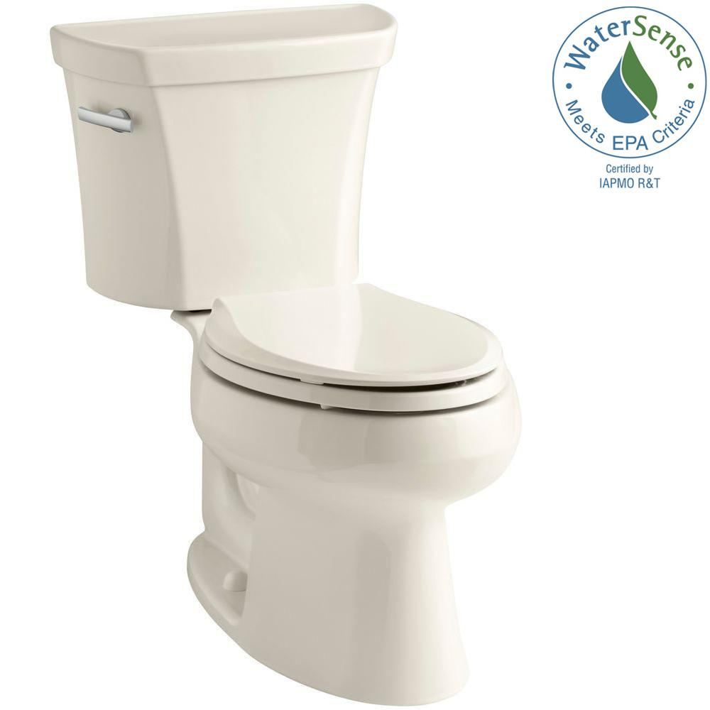 KOHLER Wellworth 2-piece 1.28 GPF Single Flush Elongated Toilet in Almond