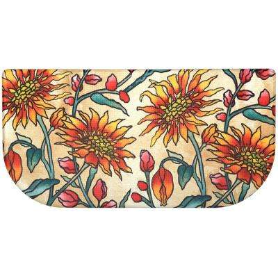 Cook N Comfort Multi Daisies 20 in. x 39 in. Slice Kitchen Mat