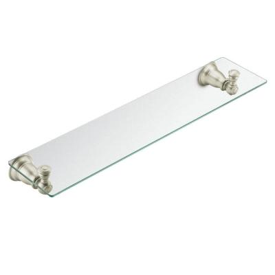 Kingsley 5-1/4 in. L x 2-9/10 in. H x 22-3/4 in. W Wall-Mount Clear Glass Shelf in Brushed Nickel