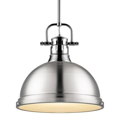Duncan 1-Light Pendant with Rod in Chrome with a Pewter Shade