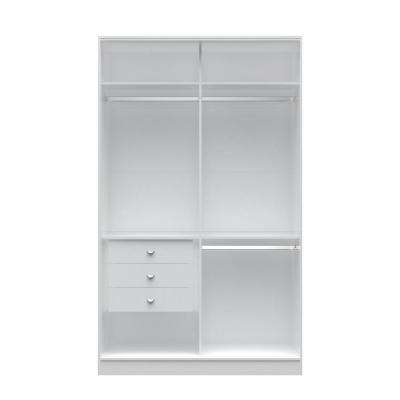 Chelsea 1.0 - 54.33 in. W White Double Basic Wardrobe with 3-Drawers