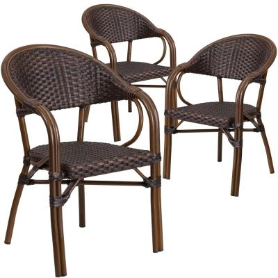 Aluminum Stackable Outdoor Dining Chair in Bark Brown Rattan/Red Bamboo