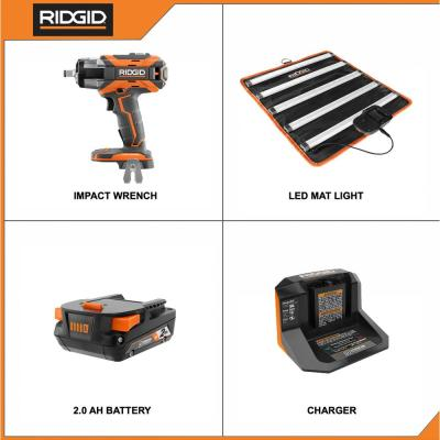 18V Brushless Cordless OCTANE 1/2 in. Impact Wrench and LED Mat Light Kit with 2.0 Ah Battery and Charger