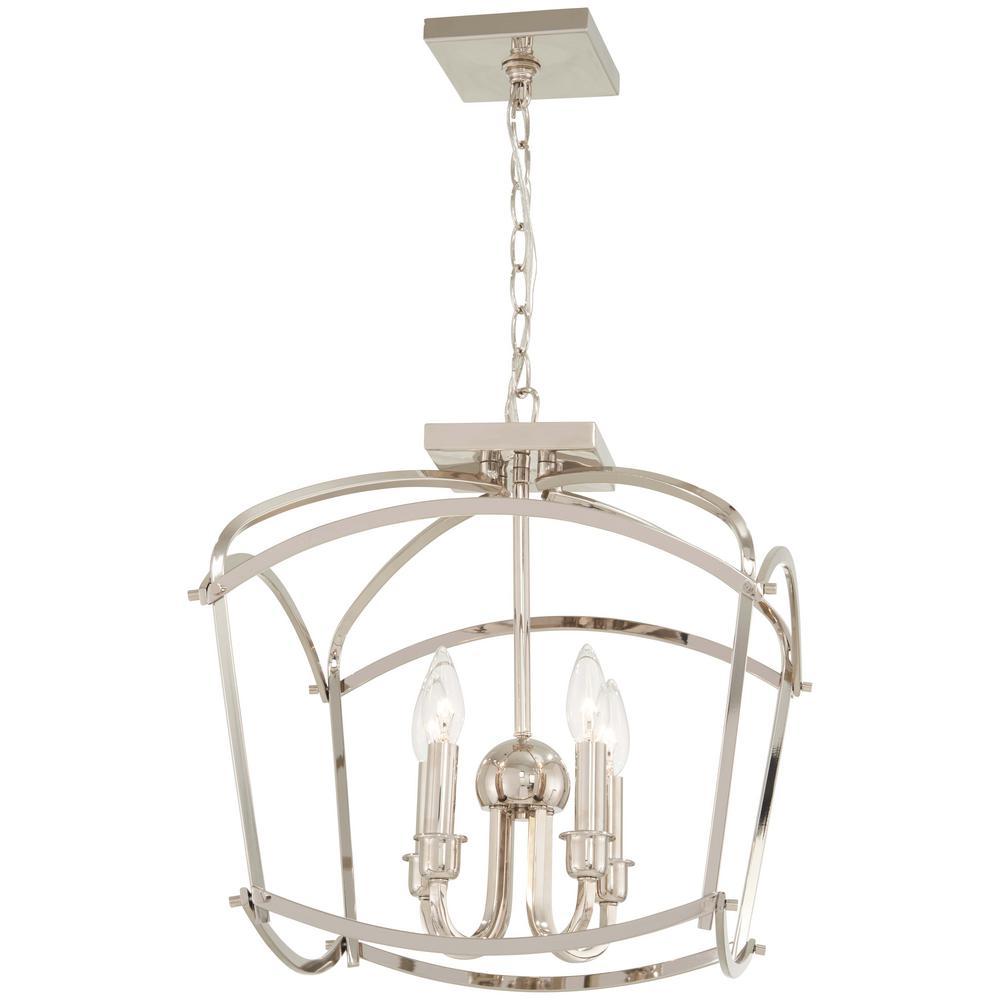 Minka lavery jupiters canopy 4 light polished nickel semi flushmount and convertible pendant