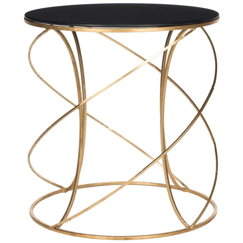 Safavieh Cagney Gold And Black Glass Top End Table