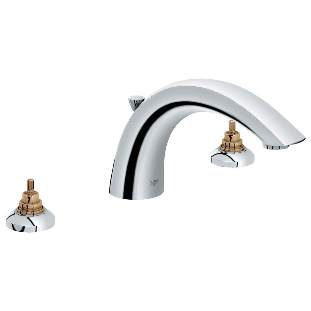 GROHE Arden 2-Handle Deck Mount Roman Tub Faucet in StarLight ...