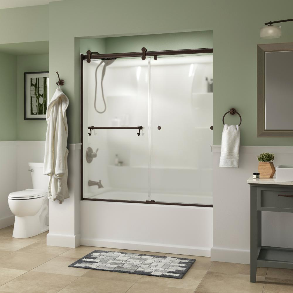 Delta Portman 60 x 58-3/4 in. Frameless Contemporary Sliding Bathtub Door in Bronze with Niebla Glass was $611.0 now $429.0 (30.0% off)