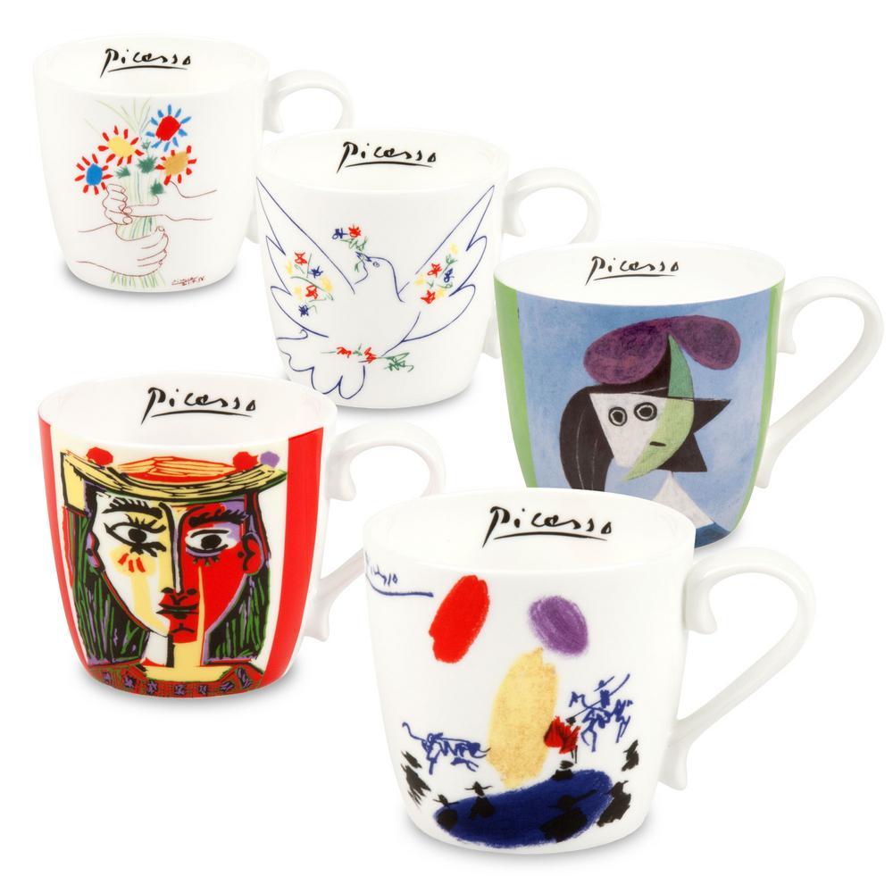 Konitz 5-Piece Assorted Picasso Bone China Mug Set