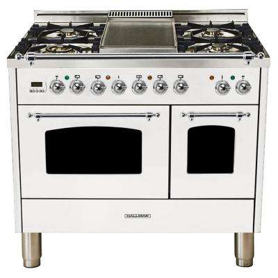 40 in. 4.0 cu. ft. Double Oven Dual Fuel Italian Range True Convection, 5 Burners, Griddle, LP Gas, Chrome Trim/White