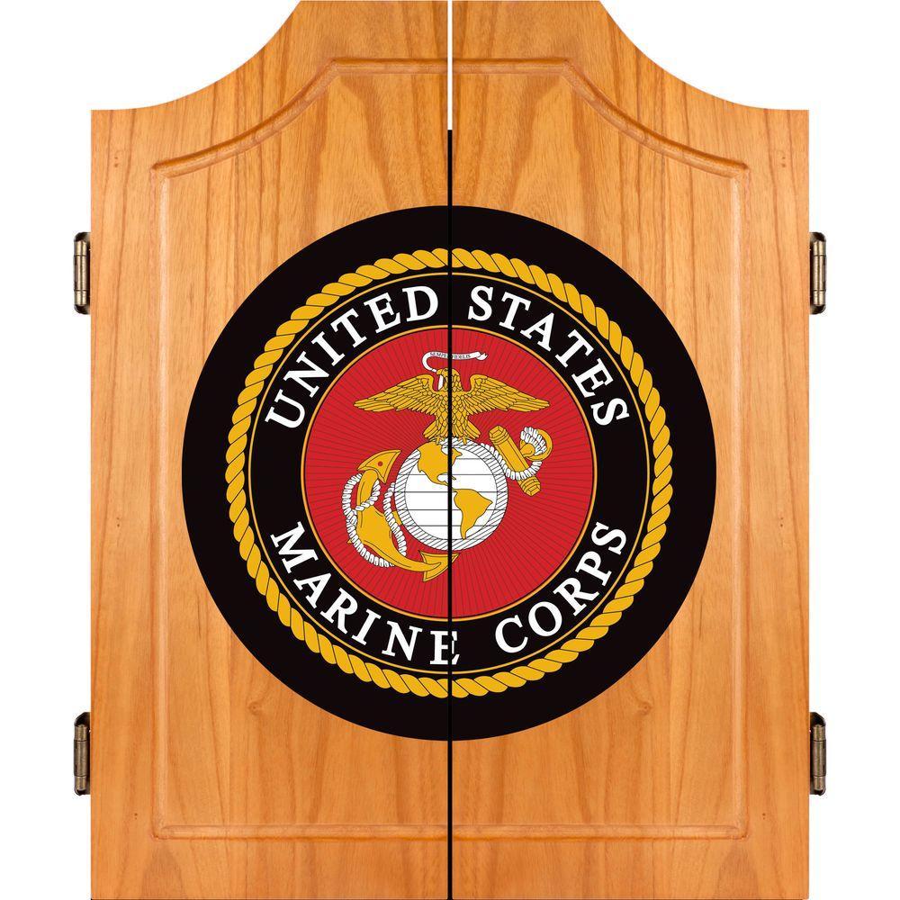 Trademark United States Marine Corps Wood Finish Dart Cabinet Set