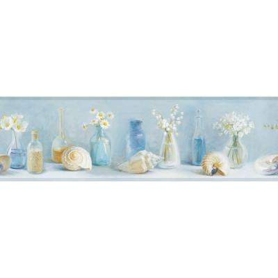 Cahoon Blue Sea Glass Wallpaper Border Sample