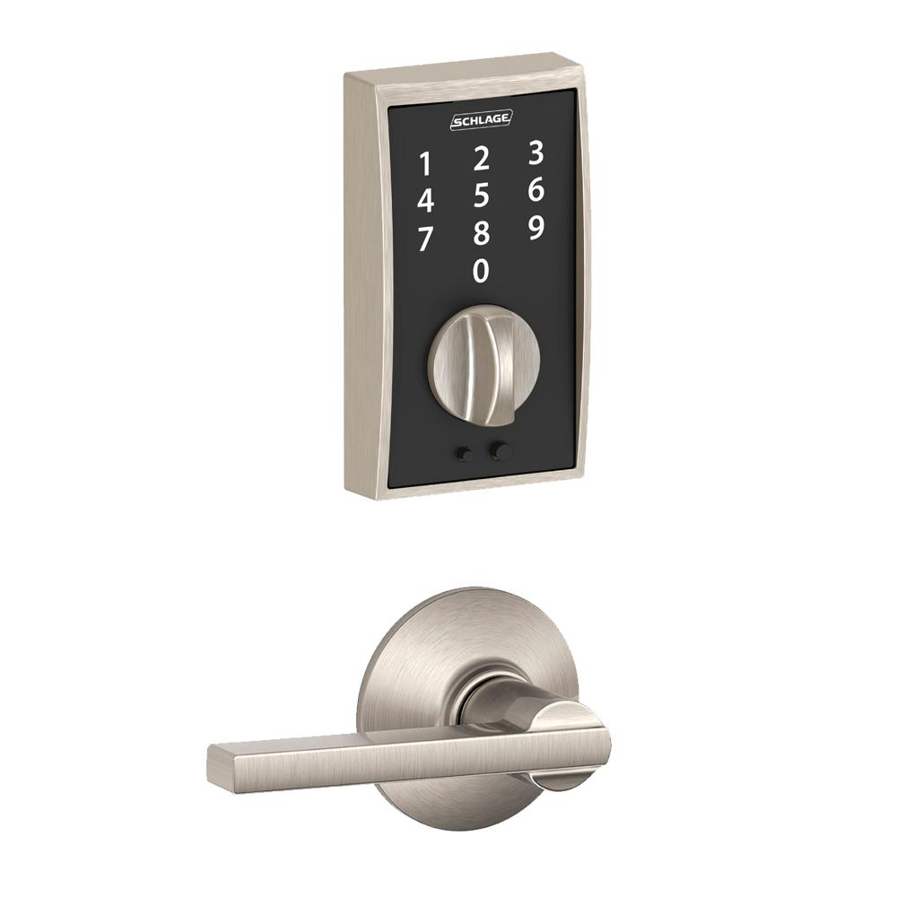 Schlage Century Touch Electronic Door Lock Deadbolt And Latitude Lever In Satin Nickel Be375 Cen F10 Lat 619 The Home Depot