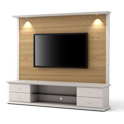 Carder Nature Wood and Off White 2-Piece TV Stand and Panel with LED Lights