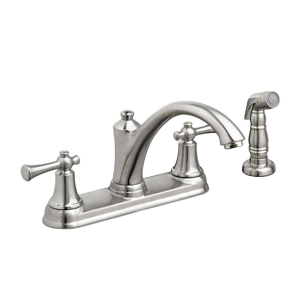 American Standard Portsmouth 2 Handle Standard Kitchen Faucet With Side  Sprayer In Stainless Steel