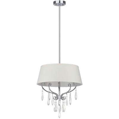 Waltz 3-Light Chrome Pendant with Beige Shade