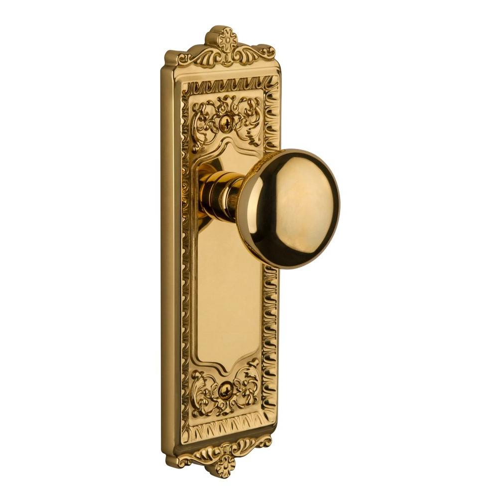Grandeur Windsor Lifetime Brass Plate with Privacy Fifth Avenue Knob
