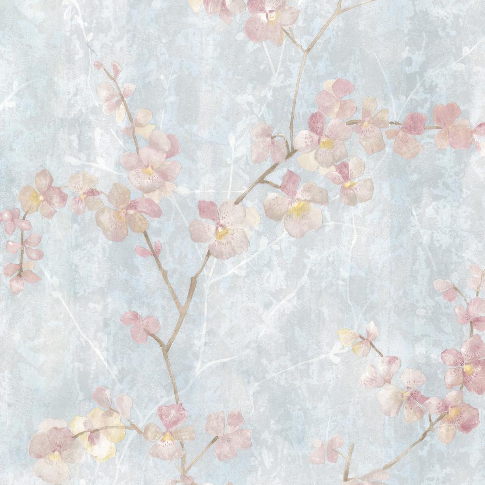 4daaf7ead Brewster 56.4 sq. ft. Chapman Blue Cherry Blossom Trail Wallpaper ...