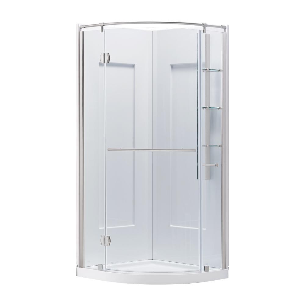 Glamour 32 in. x 76.40 in. Corner Drain Corner Shower Kit in White and Satin Nickel