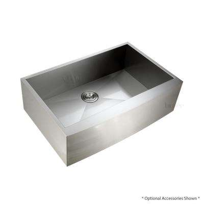 Handmade Farmhouse Apron-Front Stainless Steel 33 in. Single Bowl Kitchen Sink
