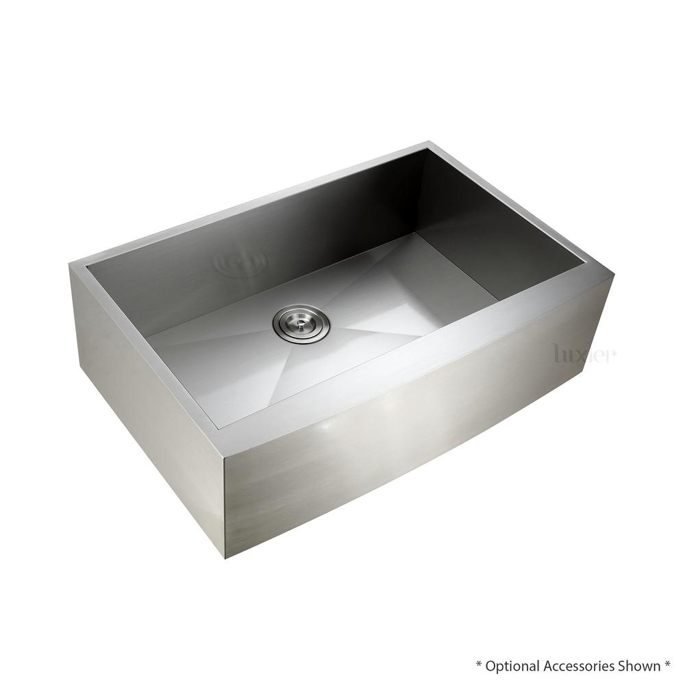 Luxier Handmade Farmhouse Apron-Front Stainless Steel 33 in. Single Bowl Kitchen Sink, Silver was $389.0 now $249.95 (36.0% off)