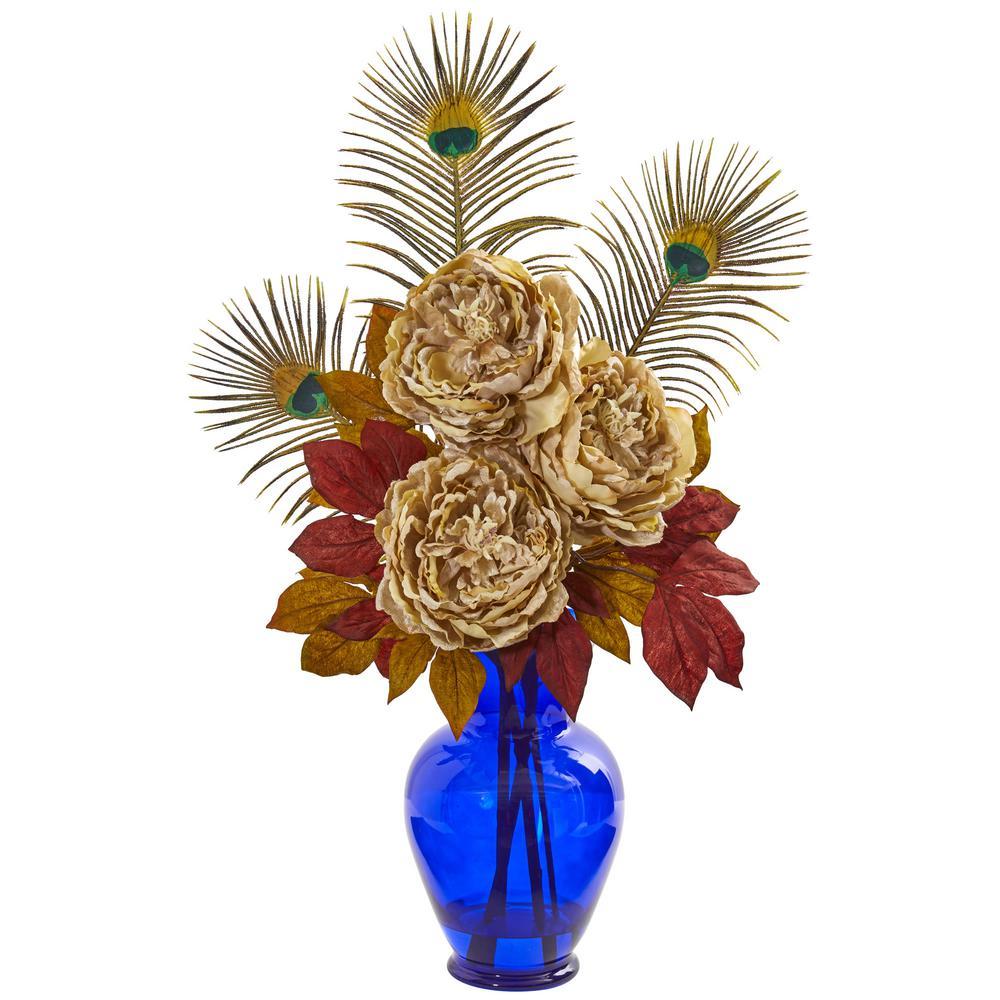 Indoor Peony in Blue Vase Artificial Arrangement