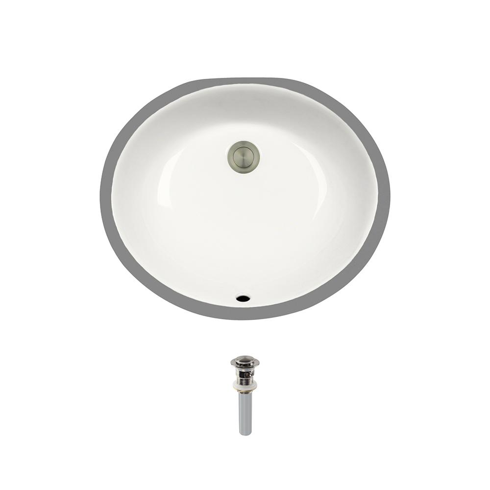 Undermount Porcelain Bathroom Sink in Bisque with Pop-Up Drain in Brushed