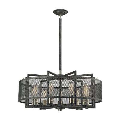 Clive Collection 9-Light Silvered Graphite And Brushed Nickel Chandelier With Wire Mesh Shade
