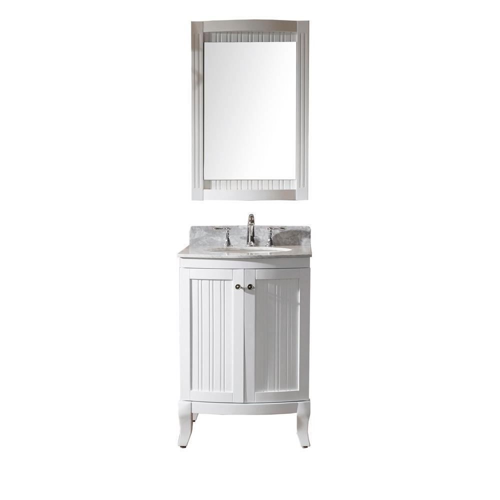 Virtu usa khaleesi 24 in vanity in antique white with Italian carrara white marble countertop