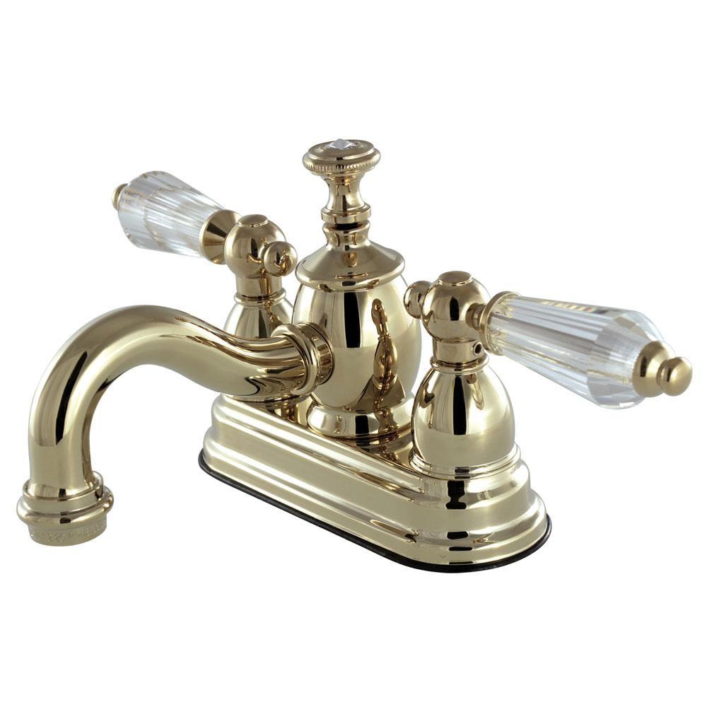 French Crystal 4 in. Centerset 2-Handle Bathroom Faucet in Polished Brass