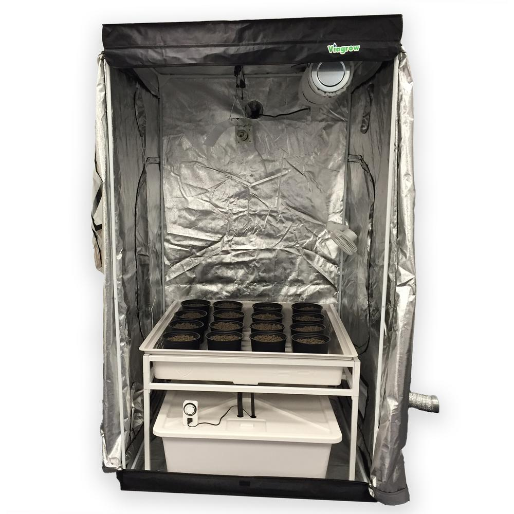 Viagrow 4 ft. L x 4 ft. W x 7 ft. H Hydro Grow Room Delux...