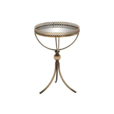 Gold Brass Round Accent Tray Table