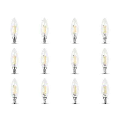 60-Watt Equivalent B10 Candelabra Dimmable Filament Clear Glass Chandelier LED Light Bulb, Soft White (12-Pack)