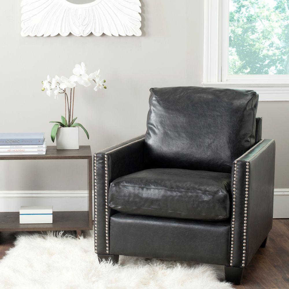 Horace Antique Black Leather Club Arm Chair