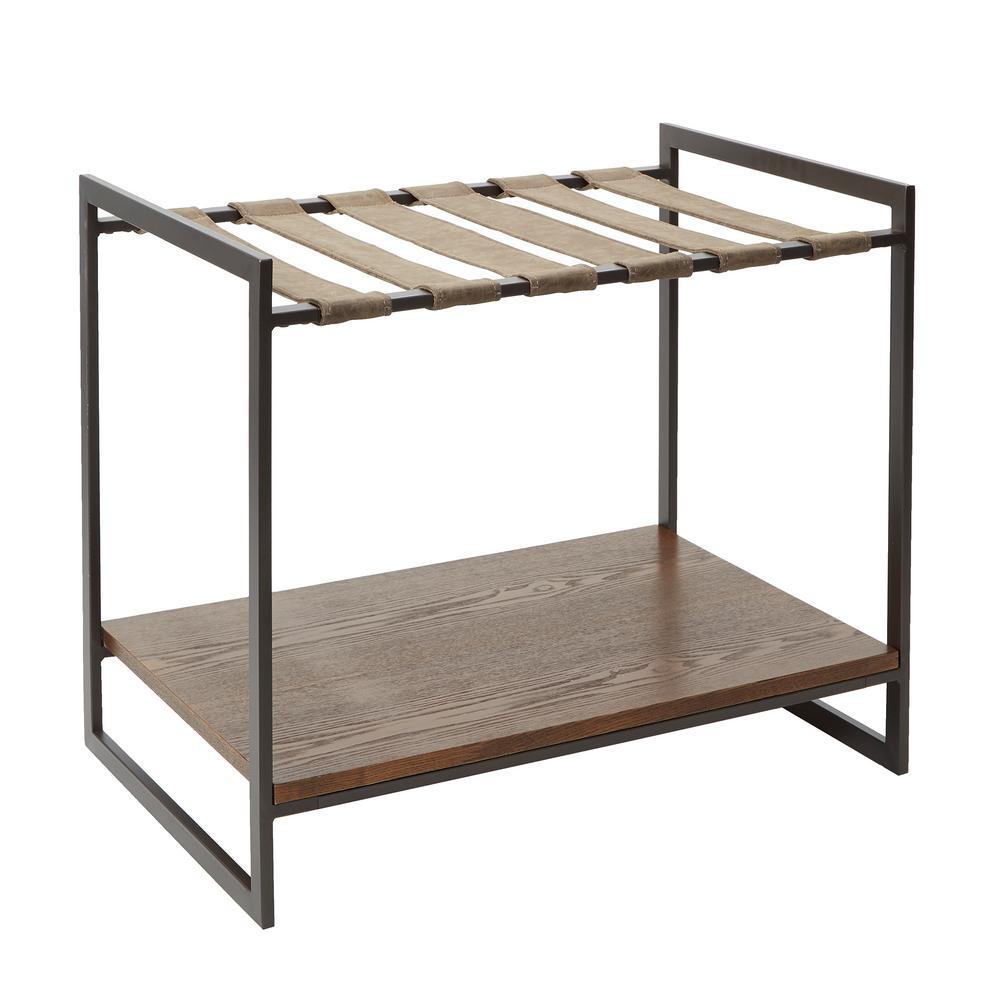 Maverick Brown Convertible Luggage Rack Table
