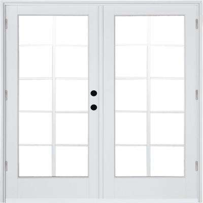 72 in. x 80 in. Fiberglass Smooth White Left-Hand Outswing Hinged Patio Door with 10-Lite SDL