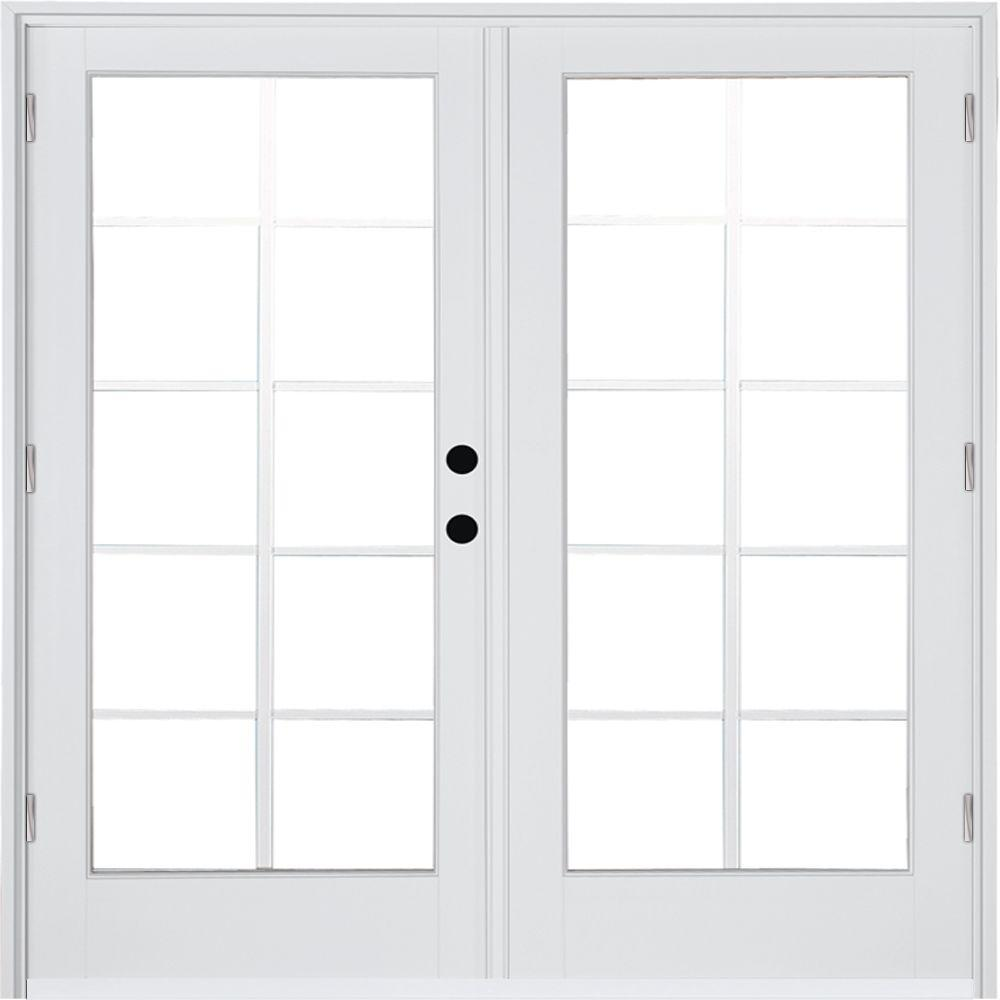 Mp Doors 72 In X 80 In Fiberglass Smooth White Left Hand Outswing Hinged Patio Door With 10