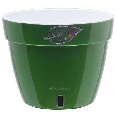 Asti 12.6 in. Green-Gold/White Plastic Self Watering Planter