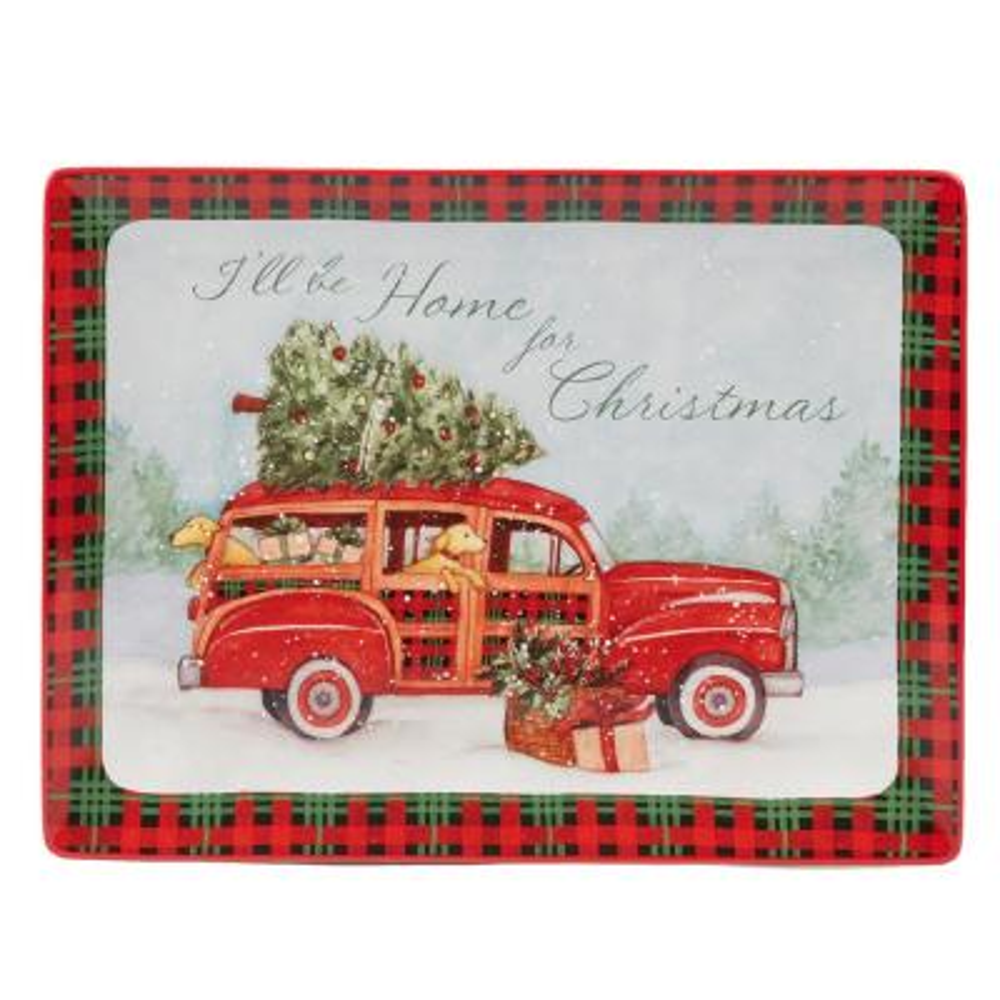 Home For Christmas Earthenware Rectangle Platter