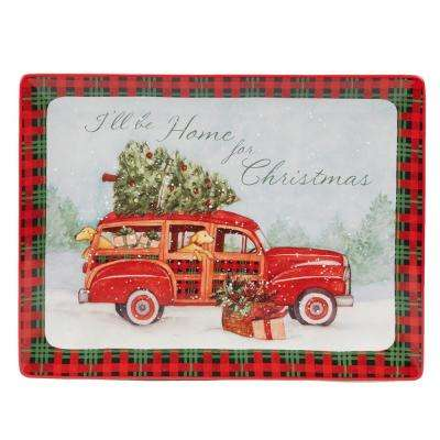 Home For Christmas Earthenware Rectangle Platter