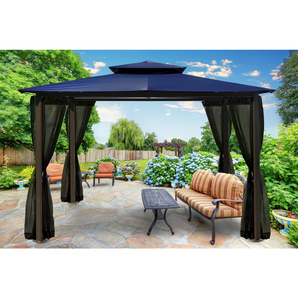 Paragon 10 Ft X 12 Ft Navy Roof Outdoor Gazebo With