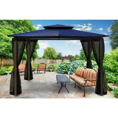 Paragon 10 ft. x 12 ft. Navy Roof Outdoor Gazebo with Mosquito Netting