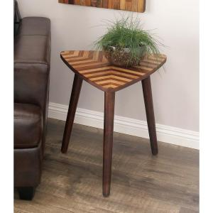 Internet #301990152. Null Wooden Chevron Patterned Triangle Accent Table