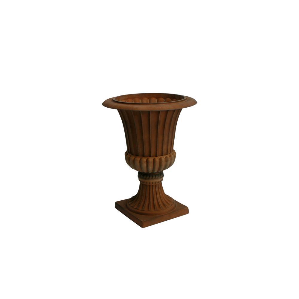 Algreen 16.25 in. D x 21.25 in. H Rust Plastic Rustic Urn